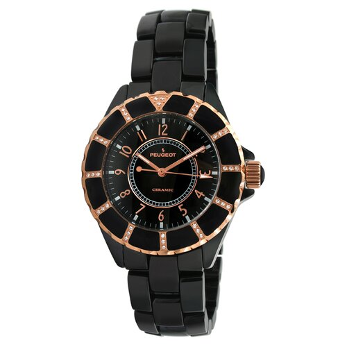 Peugeot Swiss Women's Swarovski Crystal Dial Watch in Black with Gold Tone Hands