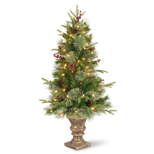 Colonial 4' Green Entrance Artificial Christmas Tree with 100 Pre-Lit Clear Lights with Urn ...