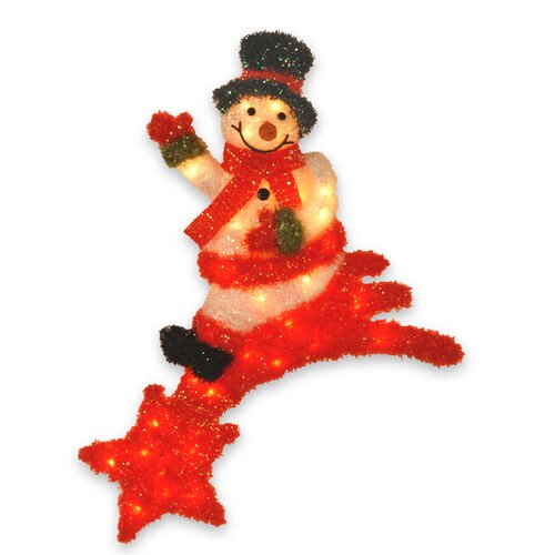 Pre-Lit Snowman Sitting on Shooting Star Christmas Decoration