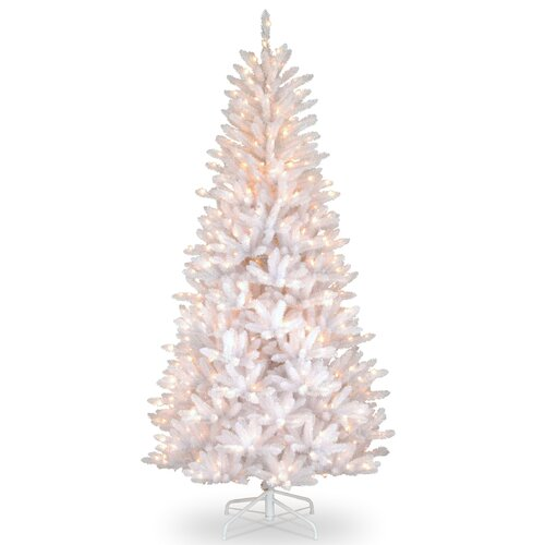 Dunhill Slim Fir 7.5' Hinged White Iridescent Artificial Christmas Tree with 600 Colored & ...