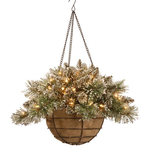 Glittery Bristle Pine Pre-Lit Hanging Basket with 50 Battery-Operated White LED Lights