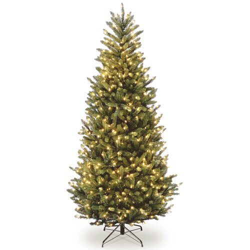 Natural Fraser 7.5' Green Slim Fir Artificial Christmas Tree with 600 Colored & Clear Lights ...