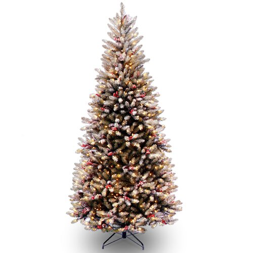 Dunhill Fir Slim 7.5' Hinged Artificial Christmas Tree with 600 Colored & Clear Lights