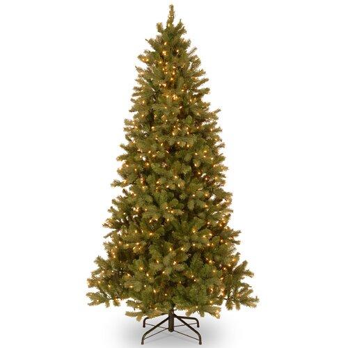 Douglas Fir 7.5' Green Downswept Slim Fir Artificial Christmas Tree with 600 Pre-Lit Clear ...