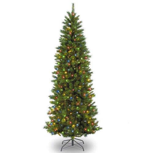 7' Green Georgian Fir Slim Artificial Christmas Tree with ...