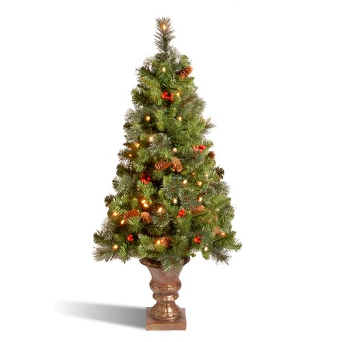 Crestwood Spruce Entrance 4' Green Artificial Christmas Tree with 100 Pre-Lit Clear Lights with ...