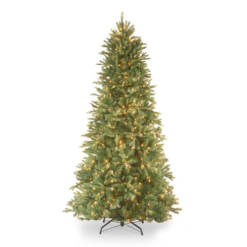 National Tree Co. Tiffany Fir 9' Green Slim Artificial Christmas Tree with 800 Pre-Lit Clear Lights with Stand