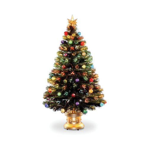 Fiber Optic Fireworks 4' Green Artificial Christmas Tree with Multicolor Lights with Base and ...