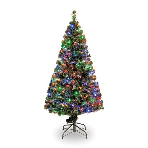 National Tree Co. Evergreen 5' Green Fiber Optic Artificial Christmas Tree with 150 Multicolor LED Lights with Stand