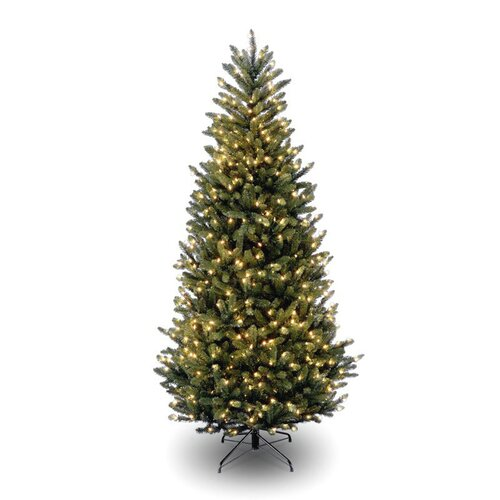 Natural Fraser 7.5' Green Slim Fir Artificial Christmas Tree with 1000 Pre-Lit Clear Lights ...