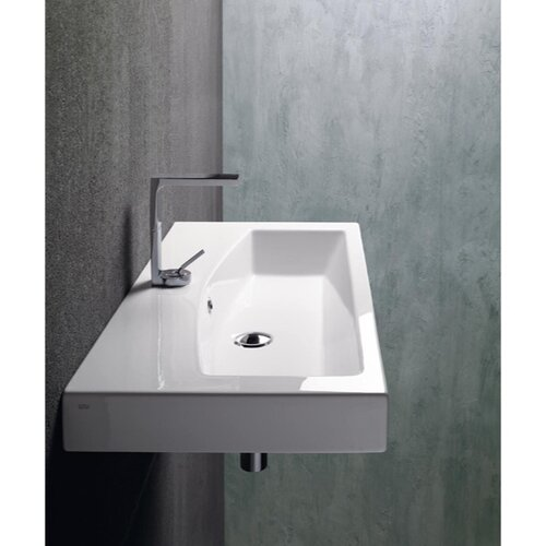 ... Rectangular Ceramic Wall Mounted Vessel or Self Rimming Bathroom Sink