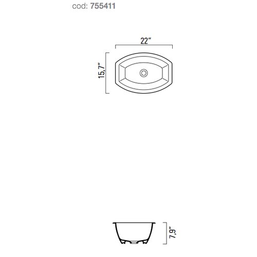 GSI Collection Losagna Oval Stylish Ceramic Self Rimming Bathroom Sink without Overflow