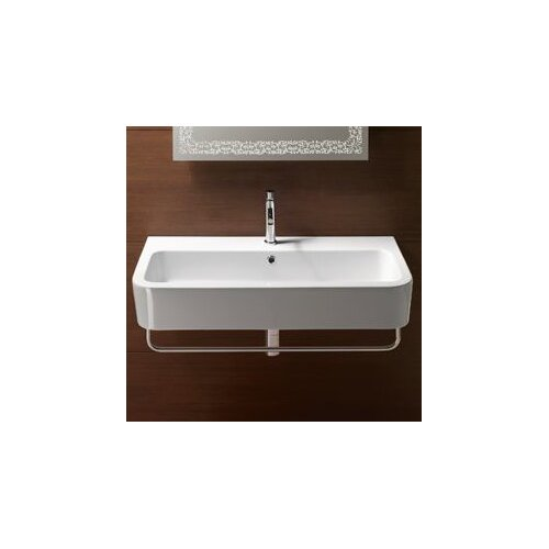 GSI Collection Traccia Contemporary Design Curved Ceramic Wall Mounted or Vessel Bathroom Sink
