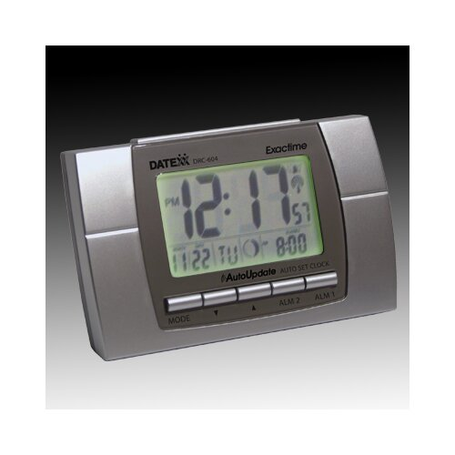 Datexx Radio Control LCD Alarm Clock with Calendar, Temperature, Moon Phase