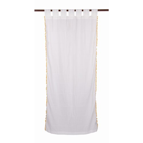 Karma Living Pompom Cotton Tab Top Window Curtain Single Panel