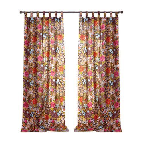 Karma Living Bohemian Bouquet Cotton Tab Top Window Curtain Single Panel