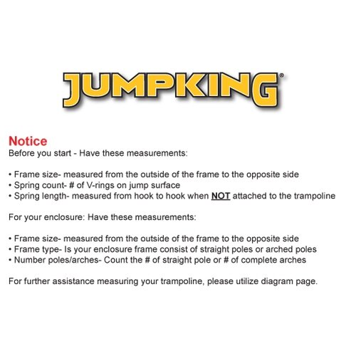 """Jumpking Jumping Surface for 15' Trampolines with 96 V-Rings and 7"""" Springs (Springs Not Included)"""