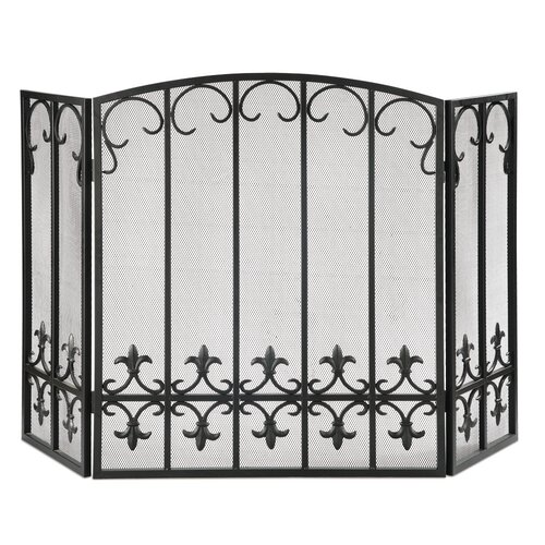 SPI Home Fleur de Lis 3 Panel Iron Fireplace Screen