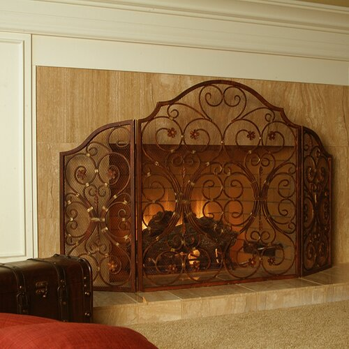 SPI Home Provincial 3 Panel Iron Fireplace Screen
