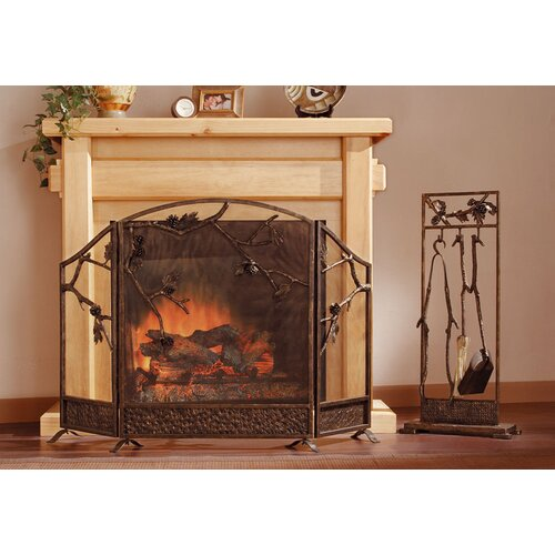 SPI Home Pinecone and Branch 3 Piece Cast Iron Fireplace Tool Set