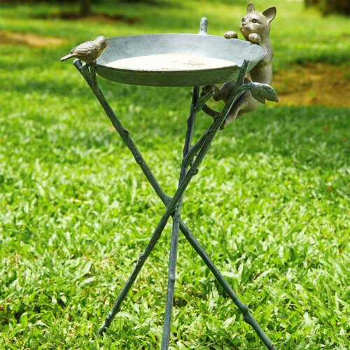 SPI Home Curious Cat and Bird Birdbath