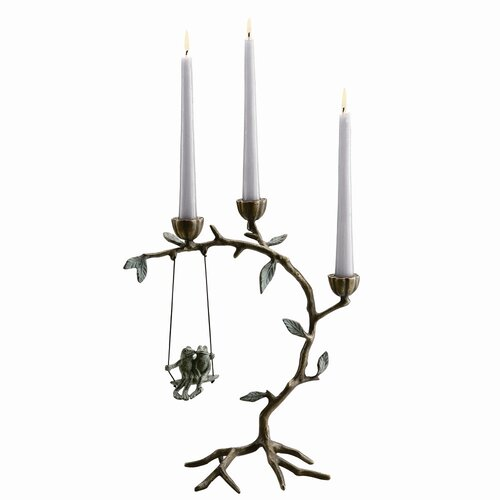 SPI Home Frog Lovers on Swing Brass Candle Holder