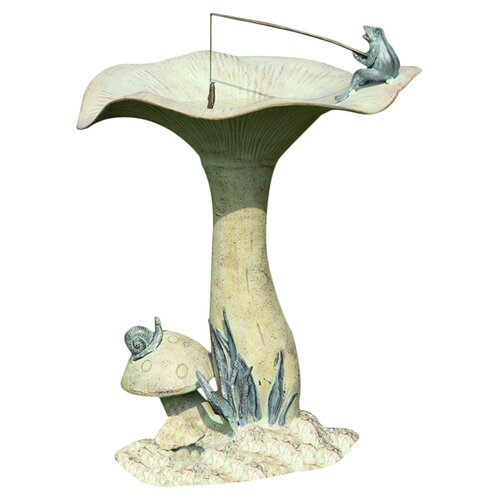 SPI Home Fishing Frog on Mushroom Bird Statue