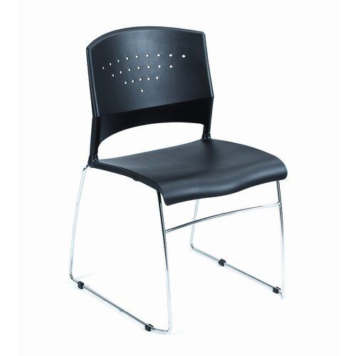 Boss Office Products Fully Assembled Black Plastic Stack Chair