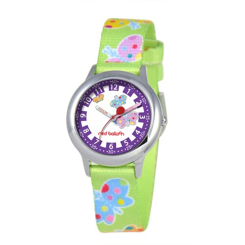 Kid's Butterflies Time Teacher Printed Strap Watch in Green