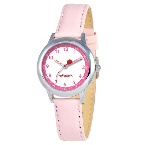 Kid's Stainless Steel Time Teacher Watch in Pink Leather