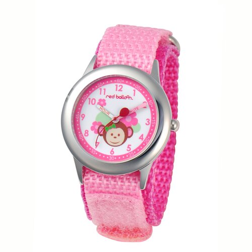 Red Balloon Girl's Pretty Girl Monkey Kid's Time Teacher Watch