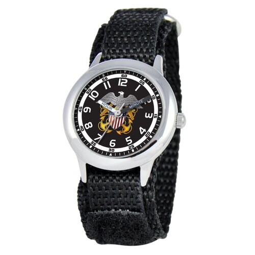 EWatchFactory Kid's Military Navy Time Teacher Velcro Watch in Black