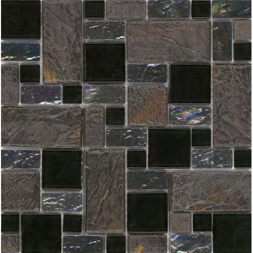 Elida Random Sized Glass Mosaic in Onyx Slate