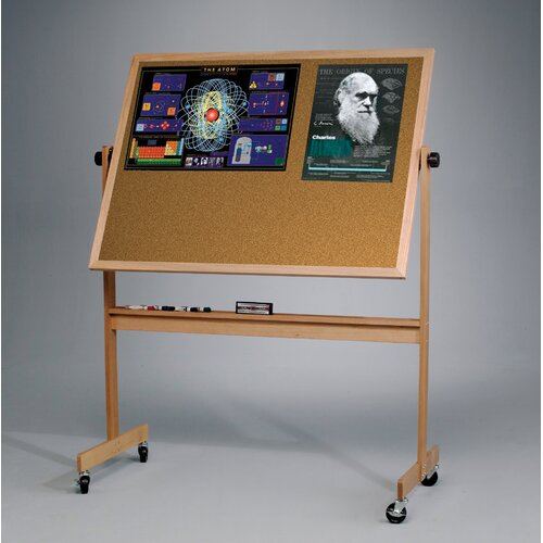 "Best-Rite® Deluxe Reversible Dura-Rite/Cork 2'6"" H x 3'4"" L Whiteboard with Wood Frame"