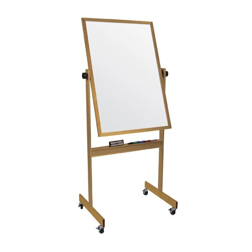 "Best-Rite® 40"" Deluxe Reversible Markerboard- Oak Wood Frame"