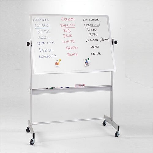 "Best-Rite® Deluxe Reversible Dura-Rite 2'6"" H x 3'4"" L Whiteboard with Wood Frame"