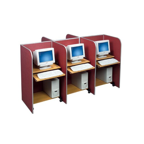 Best-Rite® Tackable Fabric and Aluminum Floor Study Carrel Desk