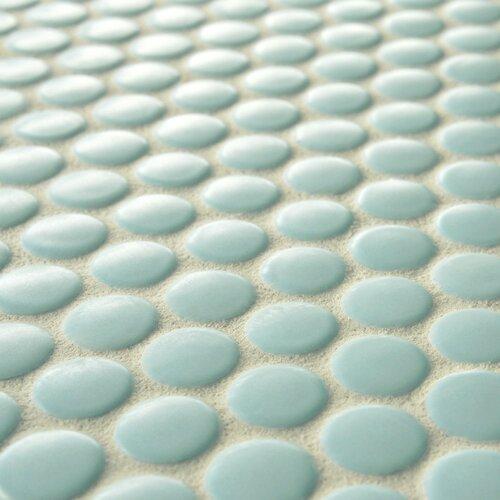 "EliteTile Retro 3/4"" x 3/4"" Glazed Porcelain Penni Mosaic in Matte Light Blue"