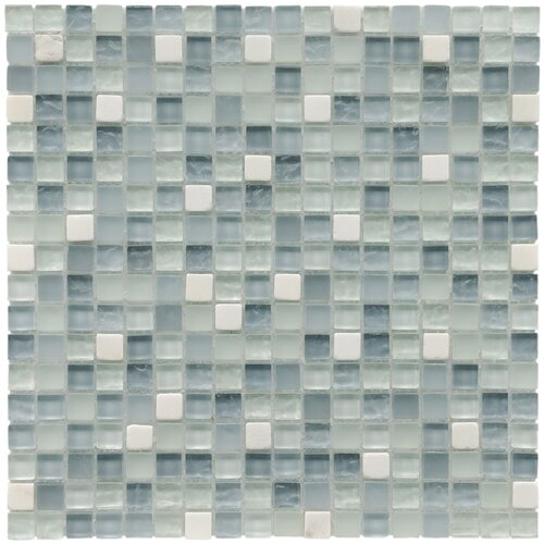 "EliteTile Sierra 5/8"" x 5/8"" Polished Glass and Stone Mini Mosaic in Alaskan View"