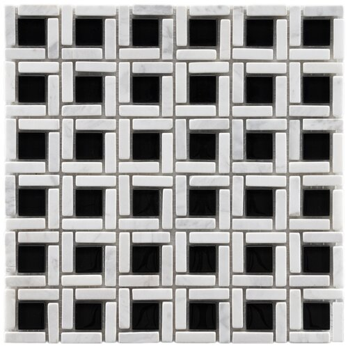 EliteTile Sierra Random Sized Polished Glass and Stone Cubic Mosaic in Classic