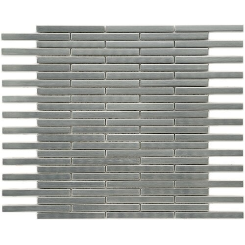 "EliteTile Metallic 3-7/8"" x 3/8"" Polished Stainless Steel Over Ceramic Brick Mosaic in Silver"
