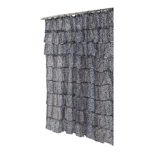 Carmen Zebra Print Crushed Voile Ruffle Tier Polyester Fabric Shower Curtain
