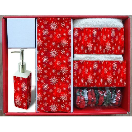 Holiday Snow Fabric 16 Piece Shower Curtain Set