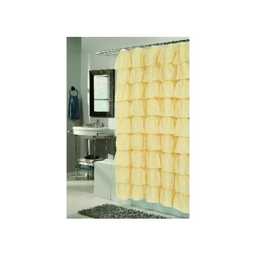 Carnation Home Fashions Carmen Crushed Voile Ruffle Tier Polyester Fabric Shower Curtain
