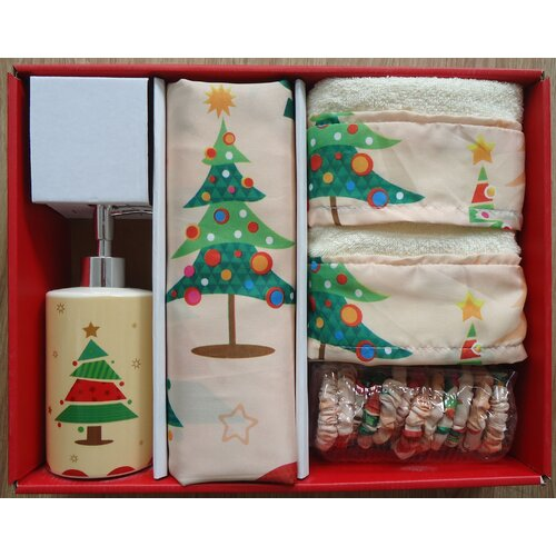 O Christmas Tree Holiday Print 16-Piece Shower Curtain Set