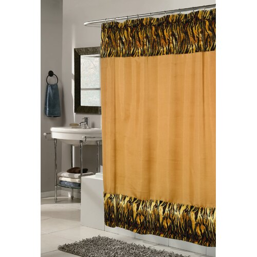 Animal Instincts Polyester Panthera Faux Fur Trimmed Shower Curtain