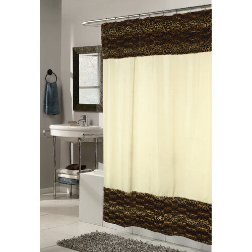 Carnation Home Fashions Animal Instincts Polyester Zuri Faux Fur Trimmed Shower Curtain