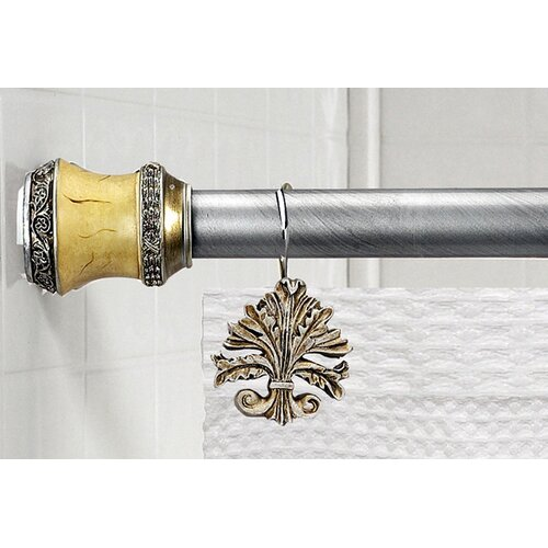 """Carnation Home Fashions """"Lakewood"""" Steel Shower Curtain Tension Rod with Decorative Resin Finials"""