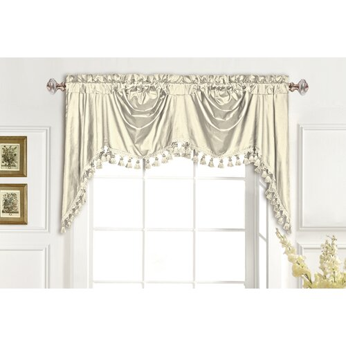 "United Curtain Co. Dupioni Silk Rod Pocket Swag 108"" Curtain Valance"