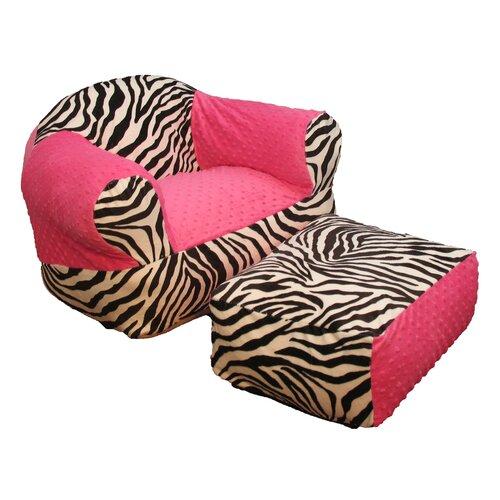 Ozark Mountain Kids Hot Pink Zebra Ottoman